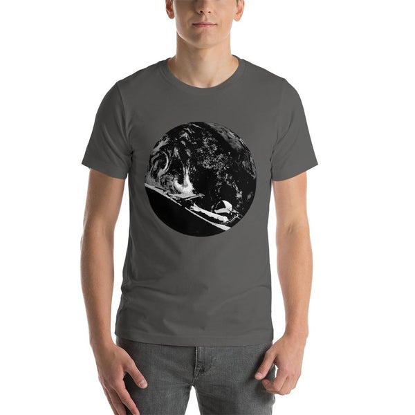 Unisex Starman t-shirt Inspired by the SpaceX Falcon Heavy Starman in a Tesla launched by Elon Musk. This men's shirt has a black and white image of the mannequin driving a Tesla Roadster in space in front of earth.  This shirt is colored Asphalt