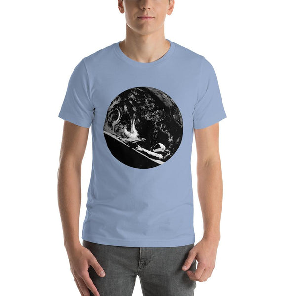 Unisex Starman t-shirt Inspired by the SpaceX Falcon Heavy Starman in a Tesla launched by Elon Musk. This men's shirt has a black and white image of the mannequin driving a Tesla Roadster in space in front of earth.  This shirt is colored Baby Blue