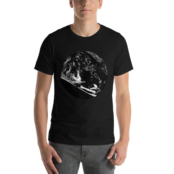 Unisex Starman t-shirt Inspired by the SpaceX Falcon Heavy Starman in a Tesla launched by Elon Musk. This men's shirt has a black and white image of the mannequin driving a Tesla Roadster in space in front of earth.  This shirt is colored Black
