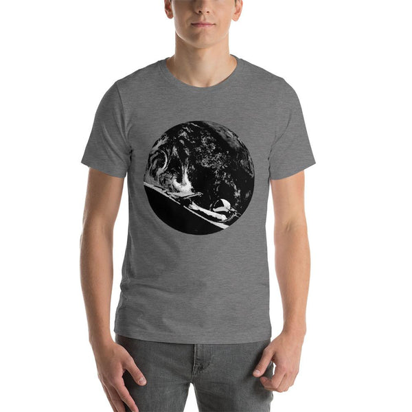 Unisex Starman t-shirt Inspired by the SpaceX Falcon Heavy Starman in a Tesla launched by Elon Musk. This men's shirt has a black and white image of the mannequin driving a Tesla Roadster in space in front of earth.  This shirt is colored Deep Heather
