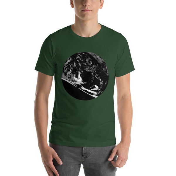 Unisex Starman t-shirt Inspired by the SpaceX Falcon Heavy Starman in a Tesla launched by Elon Musk. This men's shirt has a black and white image of the mannequin driving a Tesla Roadster in space in front of earth.  This shirt is colored Forest green