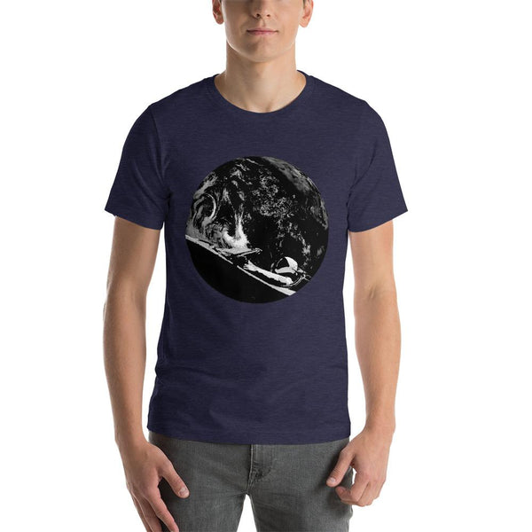 Unisex Starman t-shirt Inspired by the SpaceX Falcon Heavy Starman in a Tesla launched by Elon Musk. This men's shirt has a black and white image of the mannequin driving a Tesla Roadster in space in front of earth.  This shirt is colored Heather Midnight Navy blue