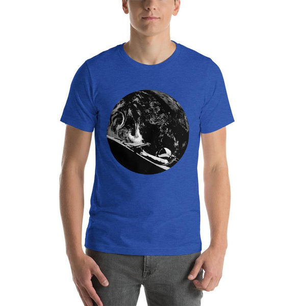 Unisex Starman t-shirt Inspired by the SpaceX Falcon Heavy Starman in a Tesla launched by Elon Musk. This men's shirt has a black and white image of the mannequin driving a Tesla Roadster in space in front of earth.  This shirt is colored Heather True Royal blue