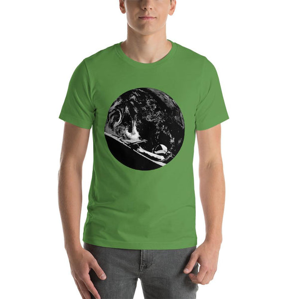 Unisex Starman t-shirt Inspired by the SpaceX Falcon Heavy Starman in a Tesla launched by Elon Musk. This men's shirt has a black and white image of the mannequin driving a Tesla Roadster in space in front of earth.  This shirt is colored leaf green