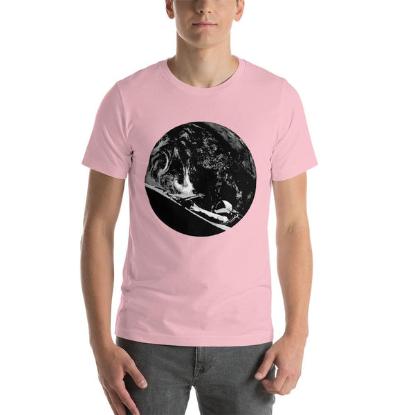 Unisex Starman t-shirt Inspired by the SpaceX Falcon Heavy Starman in a Tesla launched by Elon Musk. This men's shirt has a black and white image of the mannequin driving a Tesla Roadster in space in front of earth.  This shirt is colored Pink