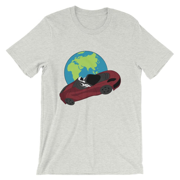 Starman t-shirt Inspired by the SpaceX Falcon Heavy Starman in a Tesla launched by Elon Musk. This unisex shirt has the astronaut mannequin driving a Tesla Roadster in space in front of earth. The shirt is colored ash