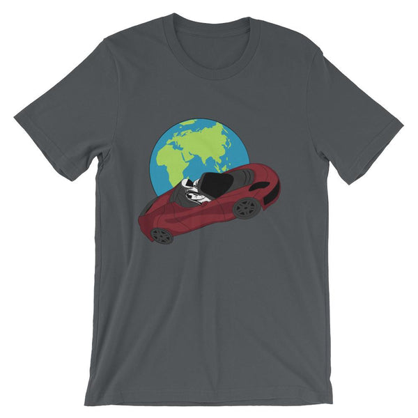 Starman t-shirt Inspired by the SpaceX Falcon Heavy Starman in a Tesla launched by Elon Musk. This unisex shirt has the astronaut mannequin driving a Tesla Roadster in space in front of earth. The shirt is colored asphalt