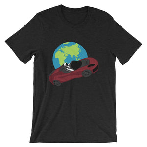 Starman t-shirt Inspired by the SpaceX Falcon Heavy Starman in a Tesla launched by Elon Musk. This unisex shirt has the astronaut mannequin driving a Tesla Roadster in space in front of earth. The shirt is colored black