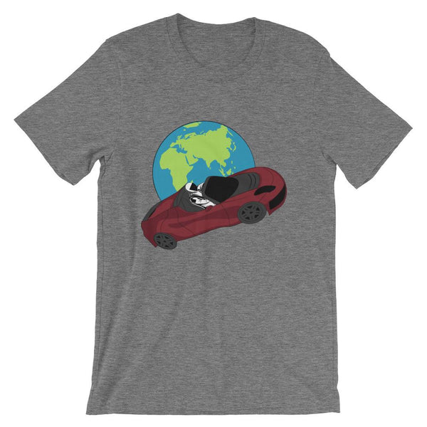 Starman t-shirt Inspired by the SpaceX Falcon Heavy Starman in a Tesla launched by Elon Musk. This unisex shirt has the astronaut mannequin driving a Tesla Roadster in space in front of earth. The shirt is colored Deep Heather