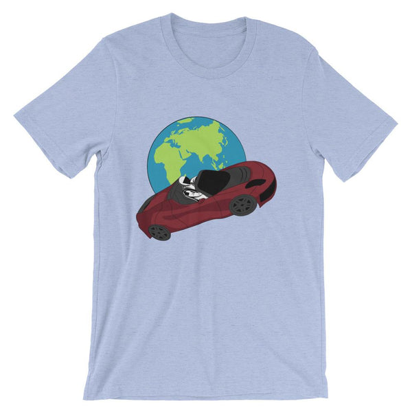 Starman t-shirt Inspired by the SpaceX Falcon Heavy Starman in a Tesla launched by Elon Musk. This unisex shirt has the astronaut mannequin driving a Tesla Roadster in space in front of earth. The shirt is colored heather blue