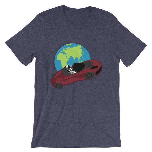 Starman t-shirt Inspired by the SpaceX Falcon Heavy Starman in a Tesla launched by Elon Musk. This unisex shirt has the astronaut mannequin driving a Tesla Roadster in space in front of earth. The shirt is colored Heather Midnight Navy