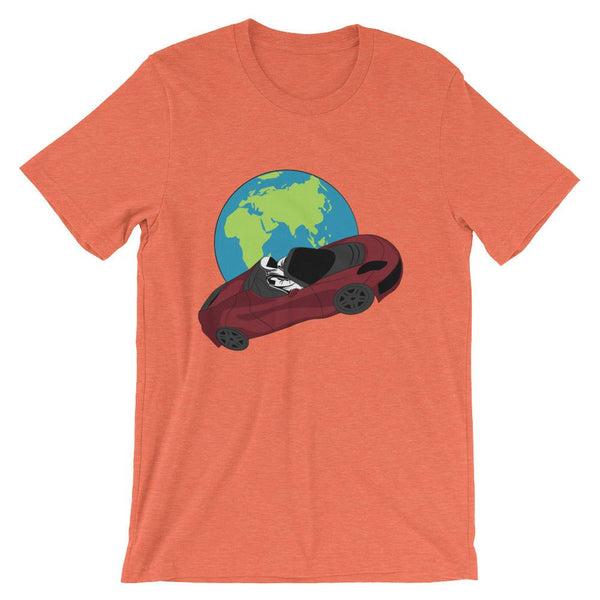 Starman t-shirt Inspired by the SpaceX Falcon Heavy Starman in a Tesla launched by Elon Musk. This unisex shirt has the astronaut mannequin driving a Tesla Roadster in space in front of earth. The shirt is colored heather orange
