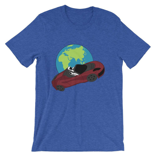 Starman t-shirt Inspired by the SpaceX Falcon Heavy Starman in a Tesla launched by Elon Musk. This unisex shirt has the astronaut mannequin driving a Tesla Roadster in space in front of earth. The shirt is colored Heather True Royal