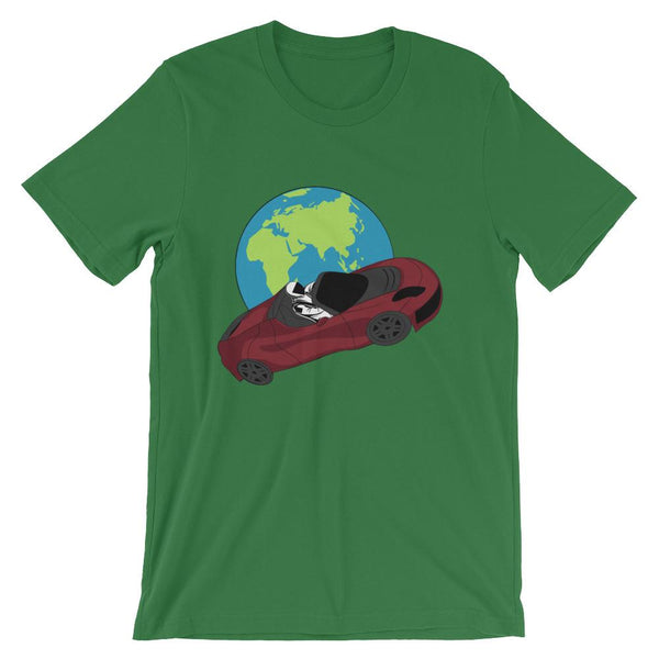 Starman t-shirt Inspired by the SpaceX Falcon Heavy Starman in a Tesla launched by Elon Musk. This unisex shirt has the astronaut mannequin driving a Tesla Roadster in space in front of earth. The shirt is colored leef green