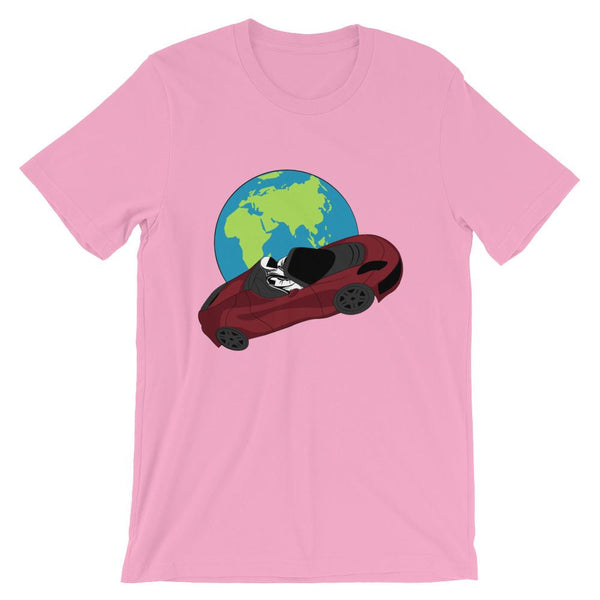 Starman t-shirt Inspired by the SpaceX Falcon Heavy Starman in a Tesla launched by Elon Musk. This unisex shirt has the astronaut mannequin driving a Tesla Roadster in space in front of earth. The shirt is colored pink