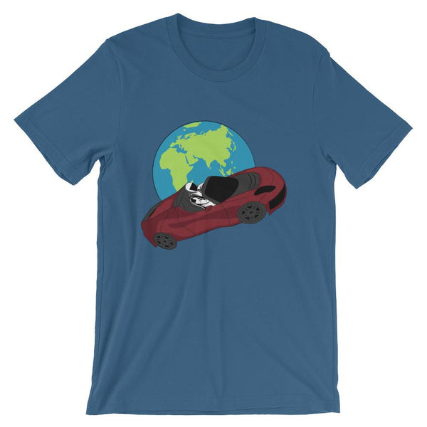 Starman t-shirt Inspired by the SpaceX Falcon Heavy Starman in a Tesla launched by Elon Musk. This unisex shirt has the astronaut mannequin driving a Tesla Roadster in space in front of earth. The shirt is colored steel blue