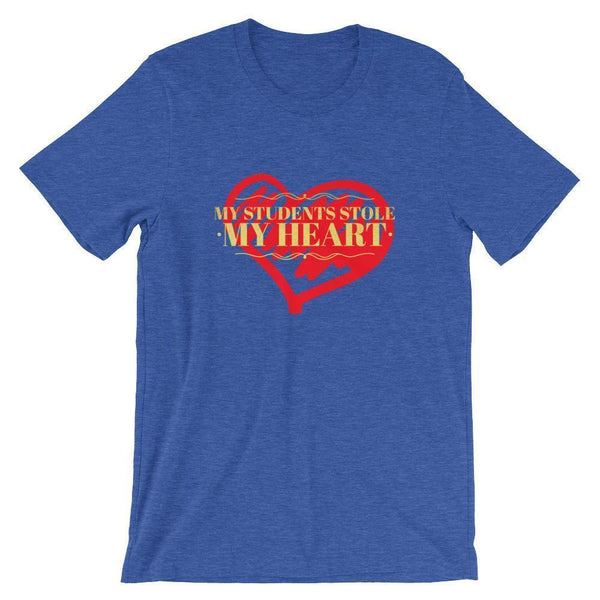 Teacher Valentines Day Tshirt - Students Stole My Heart-Tee Shirt-Faculty Loungers Gifts for Teachers