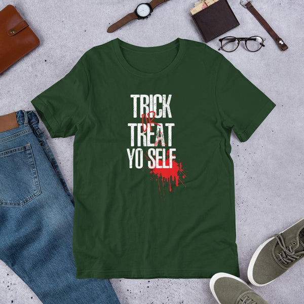 Trick or Treat Yo Self Halloween Fake Blood Tee-Tee Shirt-Faculty Loungers Gifts for Teachers