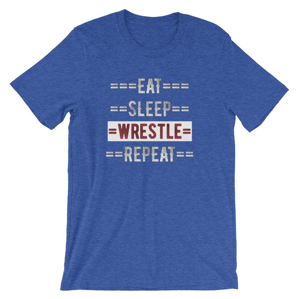 Wrestling Coach Short-Sleeve Gift T-Shirt - Eat Sleep Wrestle Repeat-Faculty Loungers