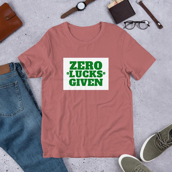 Zero Lucks Given St Patrick's Day Pun Shirt-Faculty Loungers