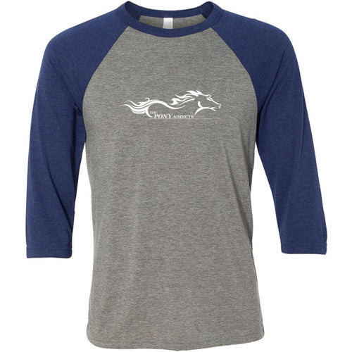 The Pony Addicts Large White Logo Three-Quarter Sleeve Baseball Tee