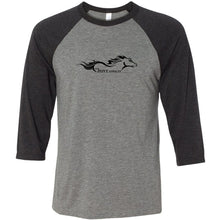 The Pony Addicts Large Black Logo Three-Quarter Sleeve Baseball Tee