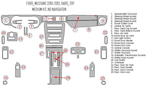 Interior Dash Kit-Ford Mustang 2010-2012 LHD Dash Trim Kit (Medium Kit, Without Navigation)