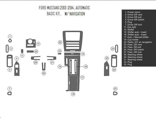 Interior Dash Kit-Ford Mustang 2013-2014 LHD Dash Trim Kit (Basic Kit, 2DR, Fits With Navigation, 22 Pcs)