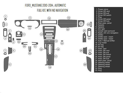 Interior Dash Kit-Ford Mustang 2013-2014 LHD Dash Trim Kit (Full Kit, 2DR, Fits Without Navigation, 35 Pcs)