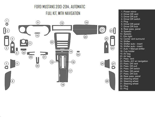 Interior Dash Kit-Ford Mustang 2013-2014 LHD Dash Trim Kit (Full Kit, 2DR, Fits With Navigation, 35 Pcs)