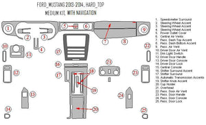 Interior Dash Kit-Ford Mustang 2013-2014 LHD Dash Trim Kit (Medium Kit, 2DR, Fits With Navigation, 32 Pcs)
