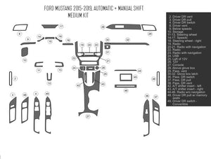 Interior Dash Kit-Ford Mustang 2015-UP LHD Dash Trim Kit (Medium Kit, 2 DR, Fits All Models, 38 Pcs)
