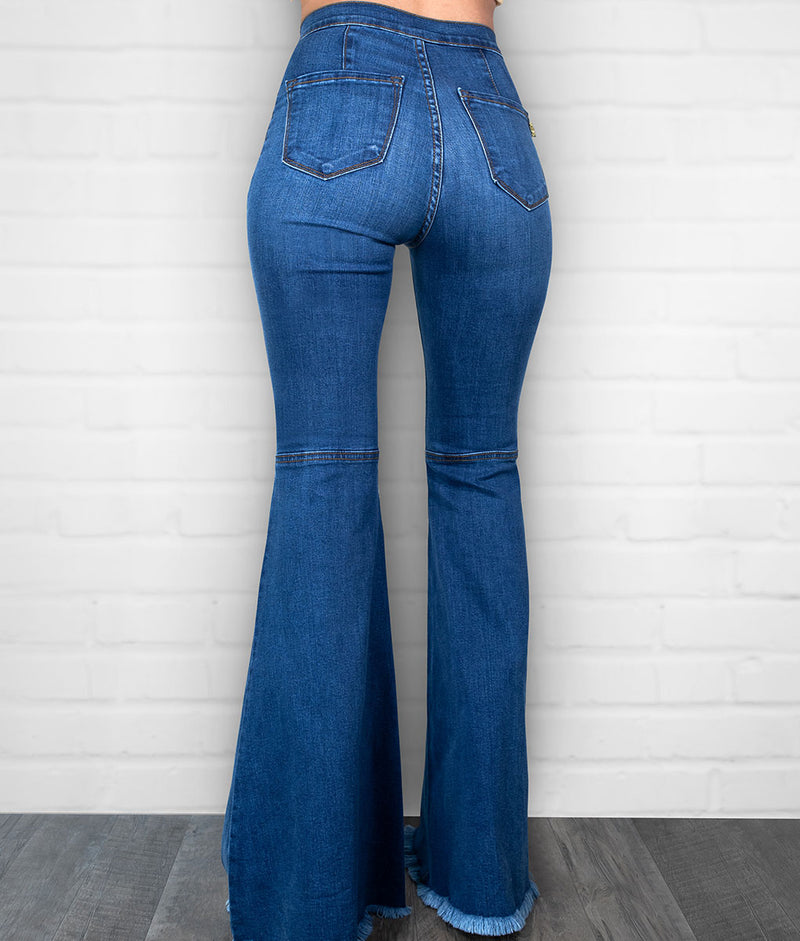 Extra Bell Bottom Jeans-Medium Blue
