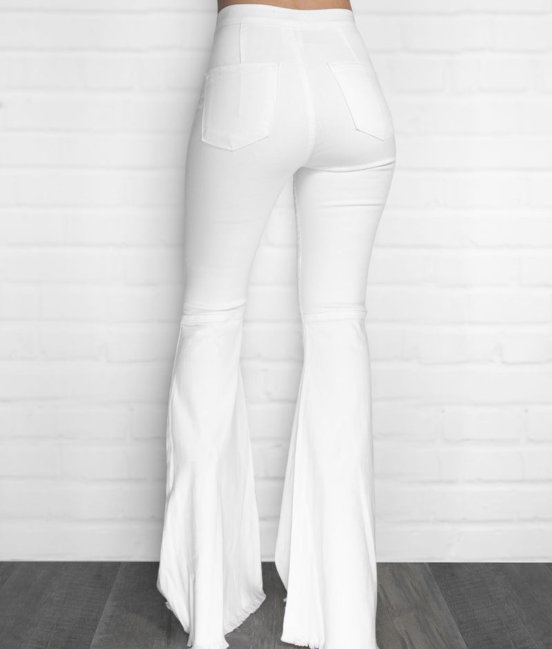 Extra Bell Bottom Jeans-White