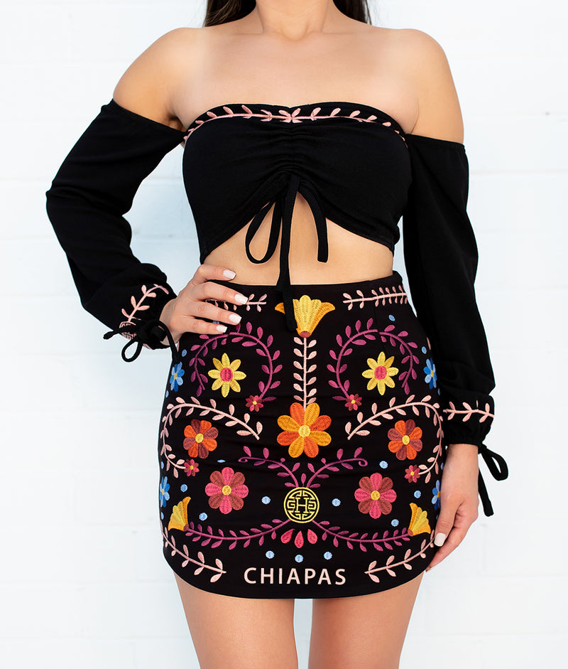 State Catrina Black Embroidered Skirt