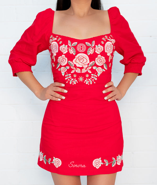 Sonora Cariñosa Embroidered Dress