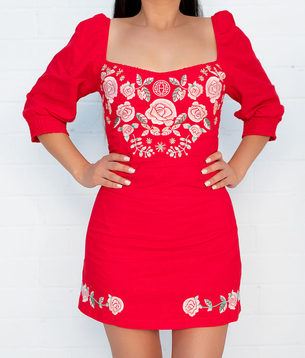 Cariñosa Embroidered Dress