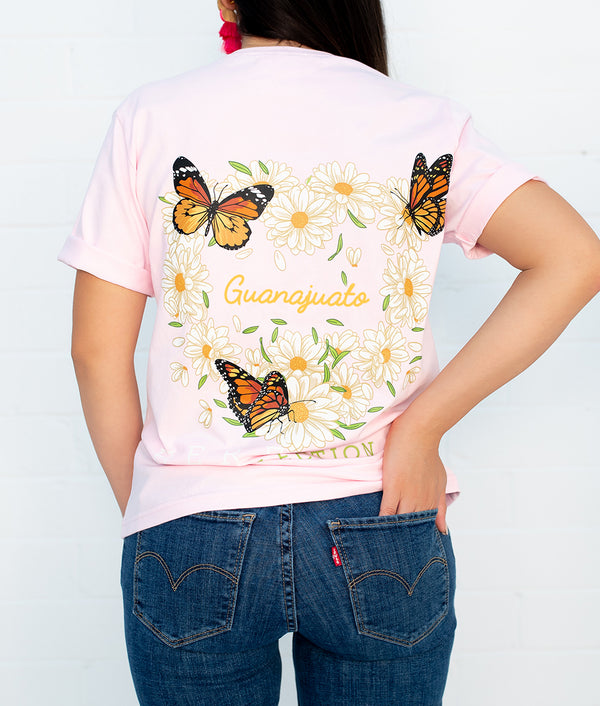 Butterfly & Daisies Short Sleeve Pocket Tee (Click To See More States)