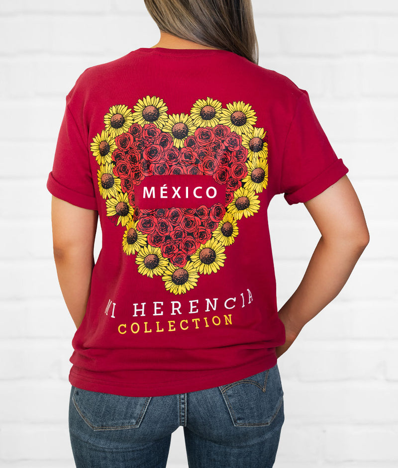 Sunflower & Roses Short Sleeve Pocket Tee (Click To See More States)