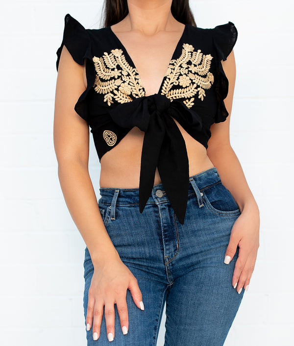 Renata Embroidered Tie Top