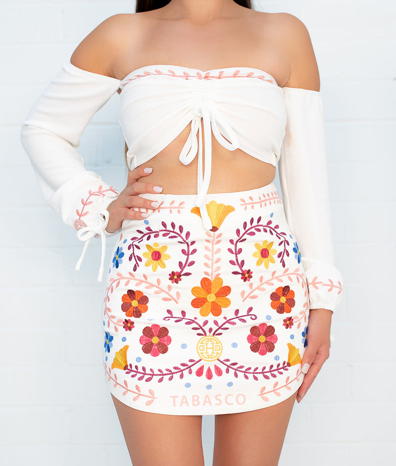 State Catrina White Embroidered Skirt