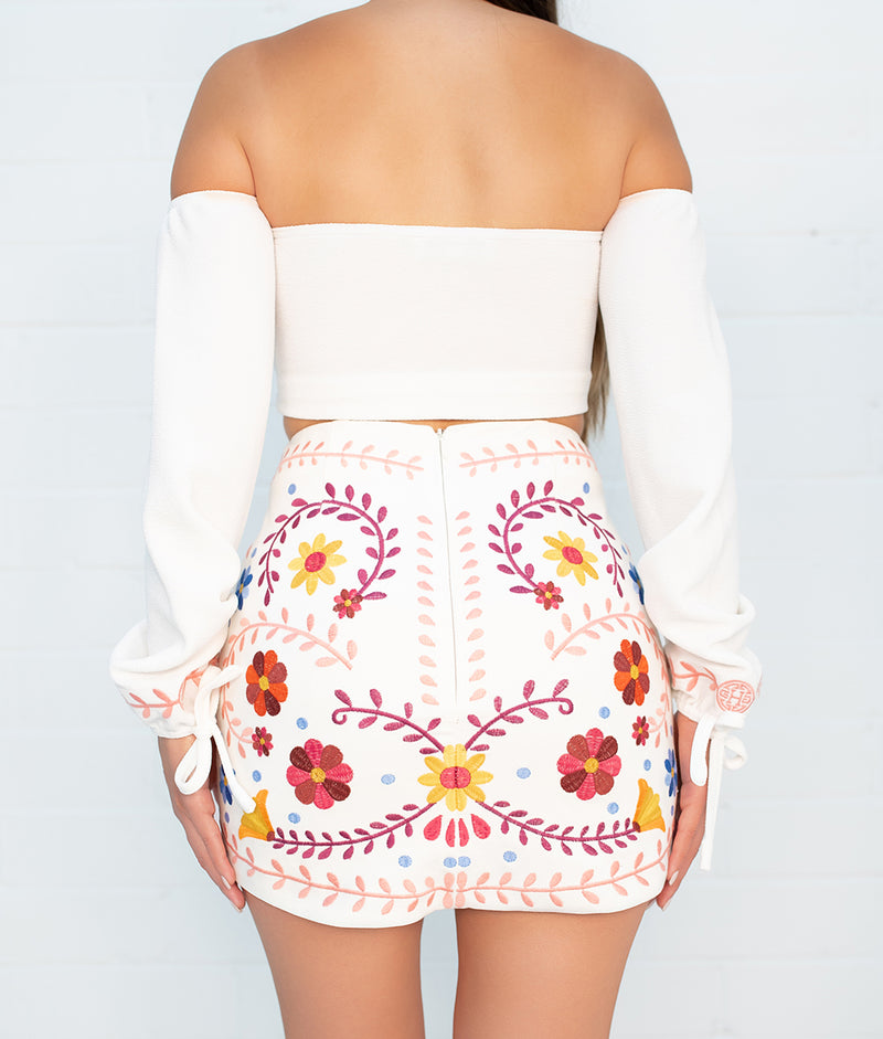 Colima Catrina Embroidered Skirt