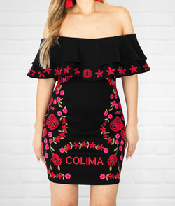 Colima Aztec Princess Embroidered Dress