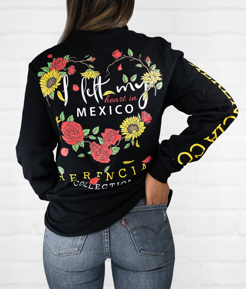 I Left My Heart In Long Sleeve Pocket Tee (CLICK TO SELECT STATE)