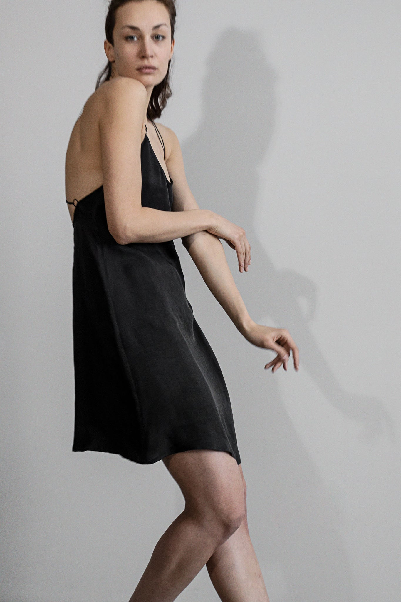 Mini slip dress in black