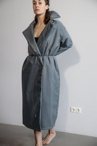 Long puffy coat in blue-grey