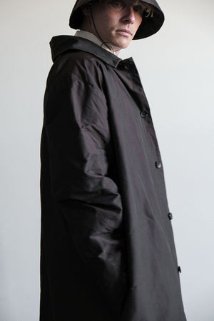 Long button up trench coat dark brown for him