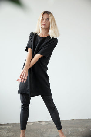 Loose fit mini length cupro dress