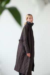 Belted calf-length robe coat