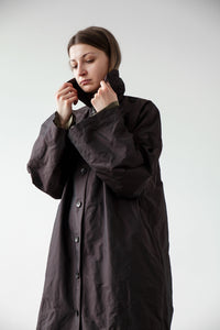 Long button up trench coat dark brown